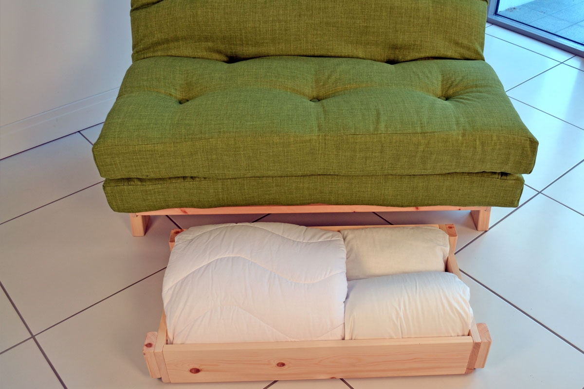 Compact Futon Sofa Bed: Full size double futon with small ...